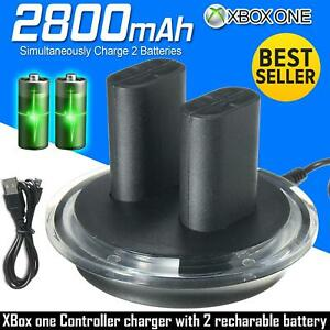 New 2 x Rechargeable Battery Pack For XBOX ONE Controller Play Charging Cable