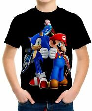 New Mario Sonic Boys Kids T-Shirt Tee Size 3 4 6 8 10 12