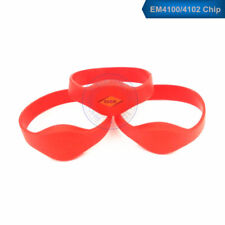 50pcs RFID 125KHz EM4100/4102 ID Red Waterproof Silicone Wristband Watch Tag