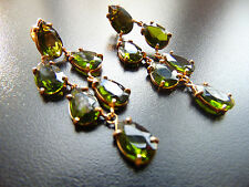 Earrings Studs Gold Plated with Green Stones Crystal, from Catia Levy