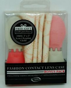 2 Fashion Contact Lens Case White & Pink / White & Red 1 Lens Cleaning Cloth NIP