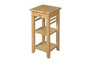 Oak Finish Solid Wood Telephone Side Lamp Table with drawer 2 shelves Hallway