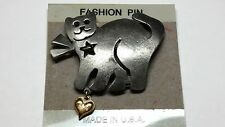 Cat with Heart Pin Vintage Ultra Craft Brooch