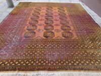 Shabby Chic Old Hand Made Traditional Afghan Wool Golden Gold Carpet 370x320cm