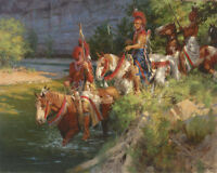 "Andy Thomas "" Osage Patrol Crossing ""Canvas Artist Proof # 6 of 15 Issued W/Cert"