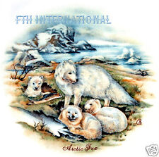 "A39 ~ Arctic White Fox Family on 9 Ceramic Decals, 2 1/4"" Round, Snow Tundra Ice"