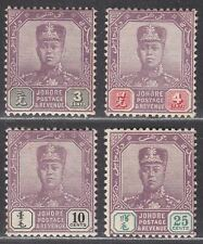 Malaya Johore 1910 Sultan Sir Ibrahim Part Set to 25c Mint