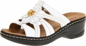 CLARKS Womens LEXI MYRTLE Leather Open Toe Casual Slide Sandals, White, Size 7.0