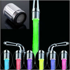7 Color RGB Colorful LED Light Water Shower Spraying Head Faucet Bathroom CAFE