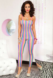 Rainbow spandex footless opaque bodystocking