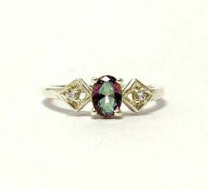 Mystic Topaz Engagement Band Sterling Silver Anniversary Ring