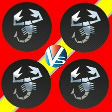 4 adhésifs sticker logo ABARTH carbone chrome de 40 à 100 MM centre de jantes