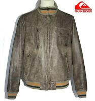 QUIKSILVER - Blouson Teddy Flight  Aviateur Harrington Jacket cuir patiné T.M