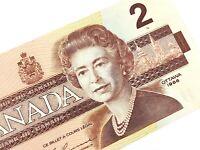 1986 Canada 2 Two Dollar CBJ Prefix Circulated Canadian Banknote L050