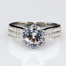 2 Carat Solitaire Paved Diamond Ring Size J K L M Platinum Never Tarnish Finish
