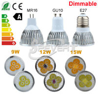 Dimmable Ultra Bright E27/GU10/MR16 9W 12W 15W LED Techo Spot Lámpara Bombillas