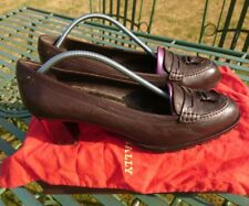 Ladies Brown Leather Bally slip on mid heel city shoes fur insole uk 7 Box/Bag