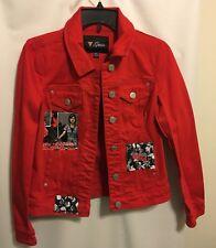 Guess Women Sz Medium Red Denim Jacket Walking Dead Patches
