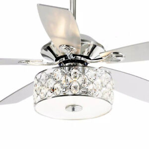matrix decor 52 in. Indoor Chrome Crystal Chandelier Ceiling Fan w/ Remote