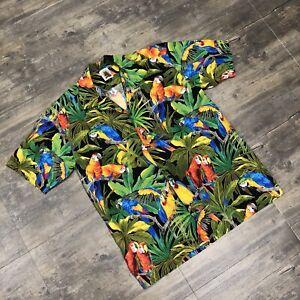 Men's Max Boxxer Classic Hawaiian Shirt All Over Parrots Size Large Multicolor