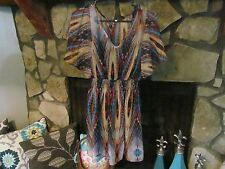 Women's Dress Size M Turquoise Yellow Brown Pretty Style Trendy Classy Cute