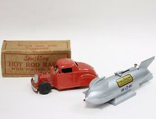 2 Vintage Toys Red Hot Rod and Silver Rocket Bank