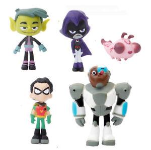 5 Teen Titans Go Robin Cyborg Beast Boy Raven Model Action Figures Statue Toys