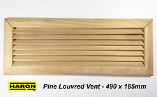 Pine Timber Louvre Air Vent  490 x 185mm Grille Register Wood Natural