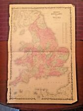 1863 Johnson and Ward Hand Colored Atlas Map of ENGLAND and WALES