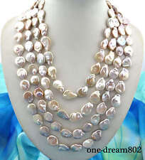 "100"" 23mm baroque Lavender freshwater pearl necklace"