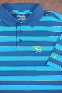 Under Armour Performance Polo Shirt Torrey Pines Blue-Green Stripe Men's Medium