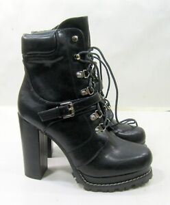 """new Black 5""""Block Heel Round Toe Lace Up Sexy Ankle Boots WOMEN Size 8.5"""