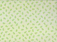 White / Mint Check Floral Polycotton Fabric (115cm wide)