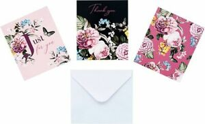 12 NOTECARDS - blank : thank you any message - notelets FLOWERS FLORAL BUTTERFLY