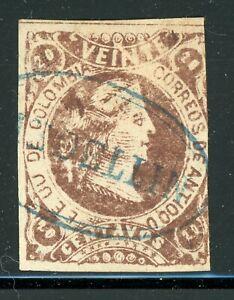 ANTIOQUIA Early Used Selections: Scott #36 20c Brown Liberty (1883) WOVE CV$8+