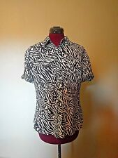 Jones New York Sport Womens Button Down Shirt Cotton Animal Print Size Medium