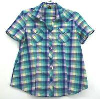 Bit & Bridle Women's Large Blue Pearl Button Snap Short Sleeve Purple Plaid Top