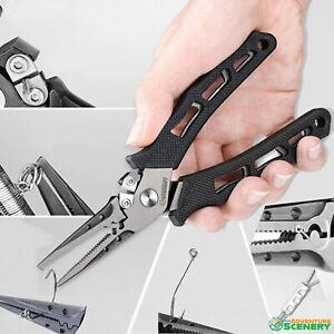 Stainless Steel Fishing Pliers Hook Removal Braid Cutters Split Ring Scissors