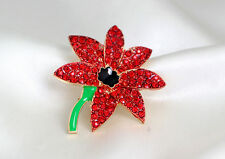 Poppy Flower Brooch Crystal Diamante Pin Badge Remembrance Gift 021
