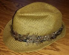"NYC New York City ""The Accessory Collective"" Stylish Feathered Woven Fedora Hat"