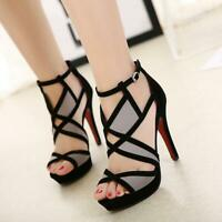Women's Ladies Ankle Strap Geometric Hollow-Out High Heel Shoes Peep Toe Sandals