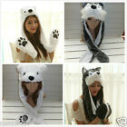 2018 new  Animal Plush cap  LONG Winter Hat Earmuff Scarf Gloves all in one