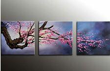 "3 Panels Plum Tree Blossom Flower Modern Giclee Canvas Prints 16""X16"" NEW"