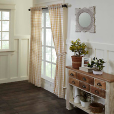 Annie Buffalo Tan Check Farmhouse Lined Cotton Country Cottage Panels 2 Sizes