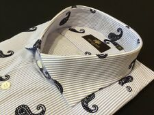 "Circle of Gentlemen  18""Collar  53 1/2""Chest  Blue Paisley Stripe Shirt RRP £139"