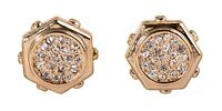 Crystals From Swarovski Hexagon Stud Earrings Gold Plated Authentic 7319w