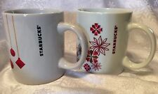 Two White STARBUCKS Holiday Coffee Mugs, Festive Design, Great Condition!