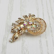 Gold Tone AB Rhinestone Brooch Pin Swirl Floral Aurora Borealis Fashion Jewelry