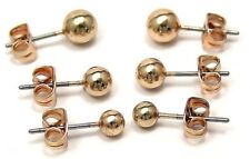 Yellow Gold PVD Ball Stud Earrings 3 Pairs One Price Hypoallergenic