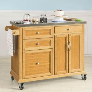 SoBuy Küchenwagen Kücheninsel mit Edelstahlarbeitsplatte Küchenschrank FKW70-N